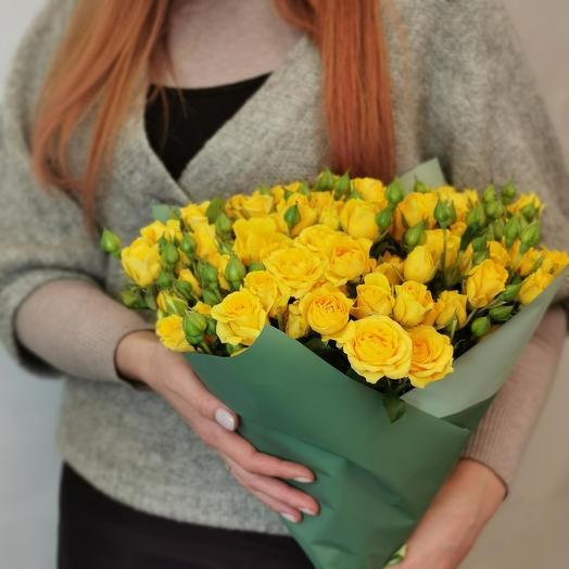 """Букет """"Лимончелло 19"""" из желтых кустовых роз"""