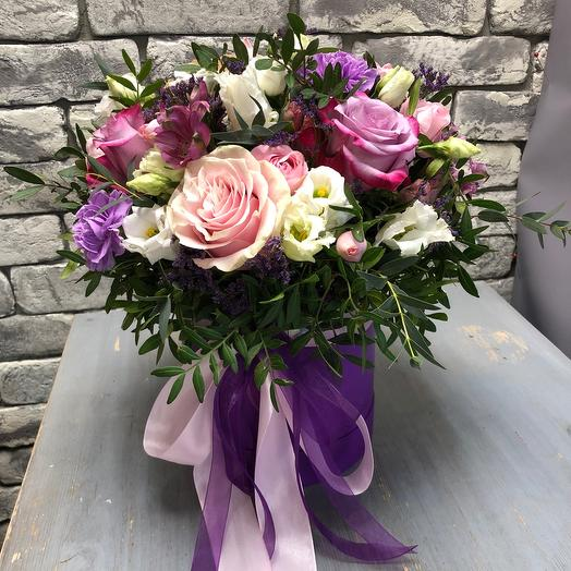 Цветы в коробке «Вуаль»