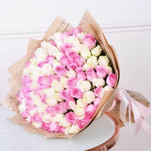 Букет из 101 разноцветной розы