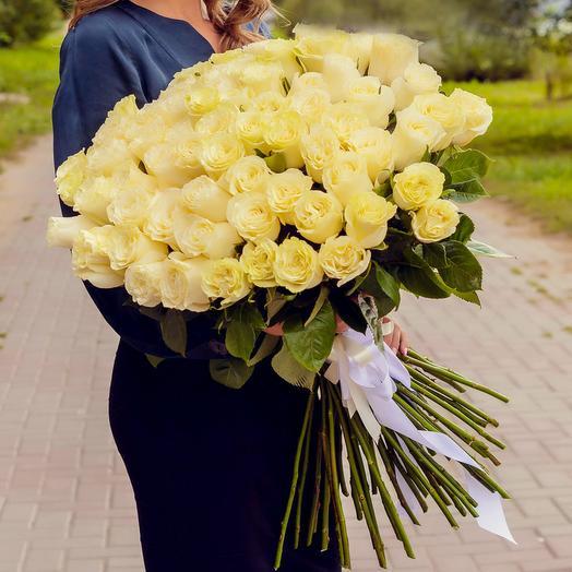 Букет из 71 белой розы Премиум