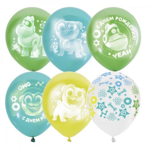 Набор шаров с днём рождения мопсы