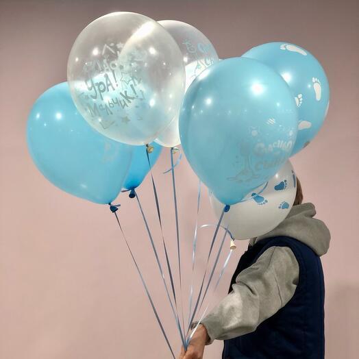 Сет из 8 шариков на выписку  мальчика