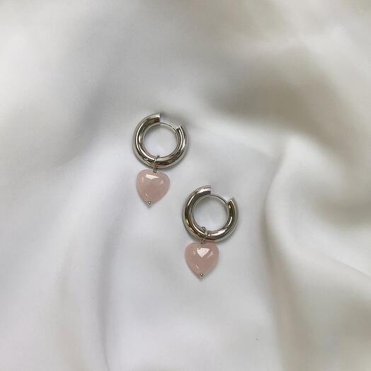 Серьги - кольца Leda hoops розовый кварц - серебро