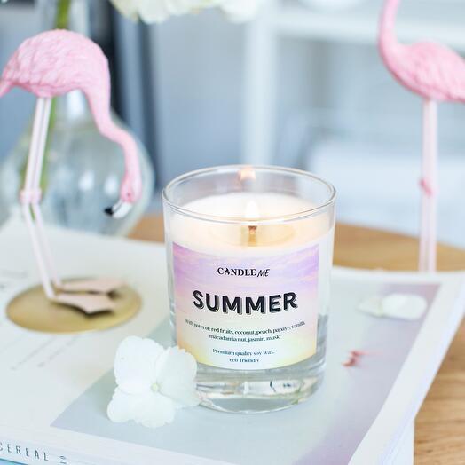 Свеча ароматическая SUMMER WEEKEND/Летние выходные с хлопковым фитилем,CANDLE ME
