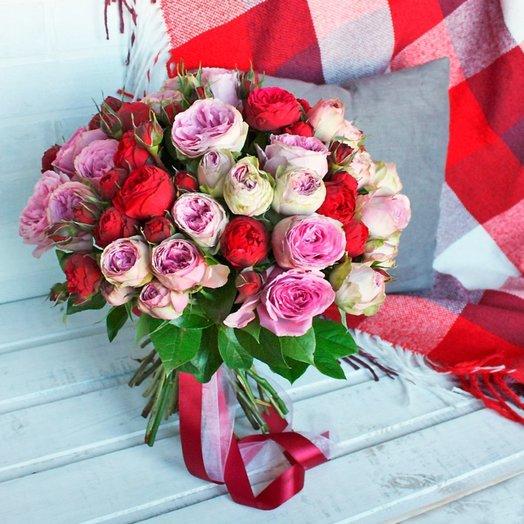 Микс пионовидных роз: букеты цветов на заказ Flowwow
