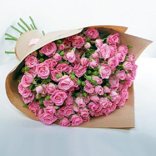 15 кустовых роз в крафте: букеты цветов на заказ Flowwow