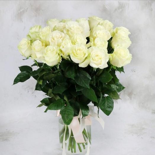 Розы белые 25 шт: букеты цветов на заказ Flowwow
