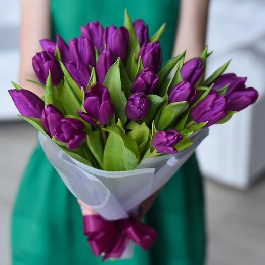 Фиолетовые тюльпаны 15шт