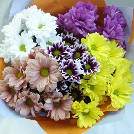 Хризантема (мини букет): букеты цветов на заказ Flowwow
