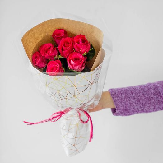 Букет из 7 роз Кения (фуксия)