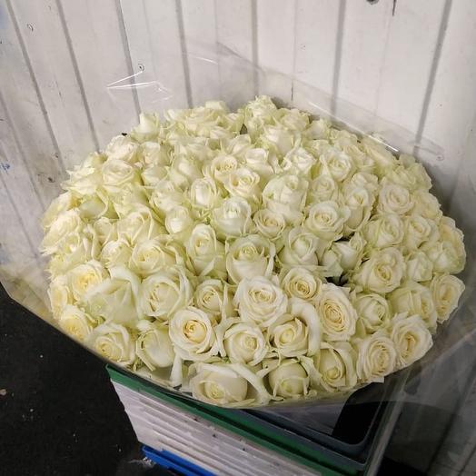 Белые розы 101 шт: букеты цветов на заказ Flowwow