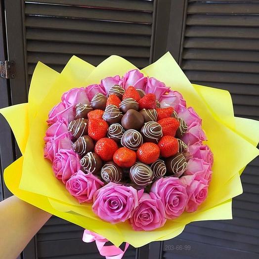 Букет с клубникой в шоколаде