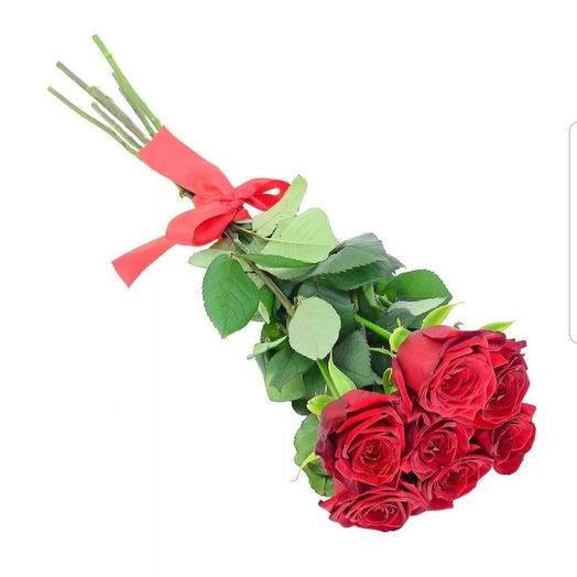 7 красных высоких 90 см роз на ленте