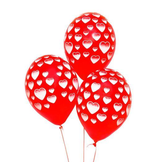 Набор из 3 шаров с сердцами