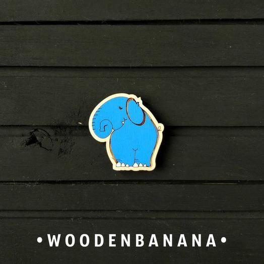 """Брошь BananaWood """"Слон синий"""""""