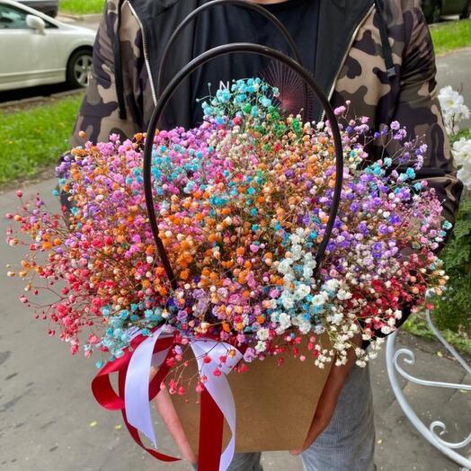 Цветы в коробке «Радуга любви»