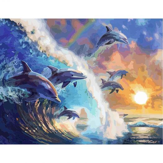 Картина по номерам Дельфины на волне