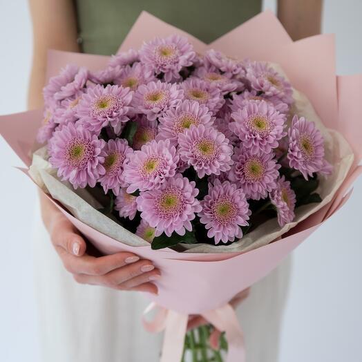 Монобукет из хризантем «фламинго»