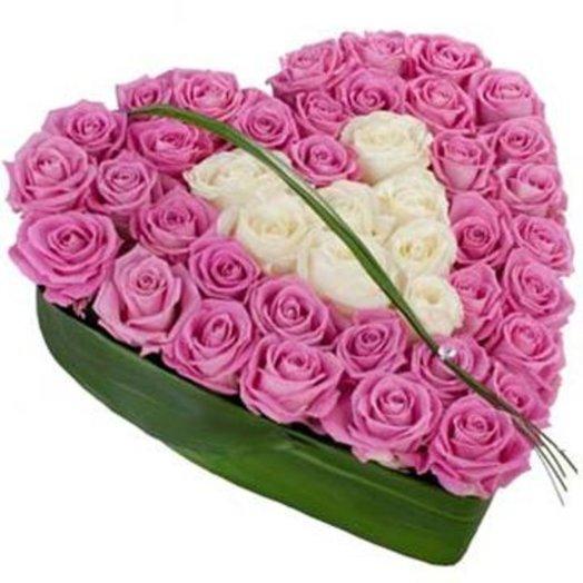 Композиция Сердце из розовой розы: букеты цветов на заказ Flowwow