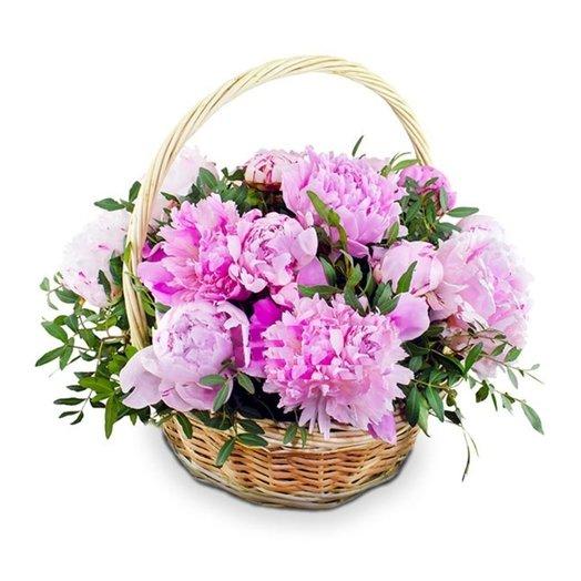 15 розовых пионов в корзине: букеты цветов на заказ Flowwow