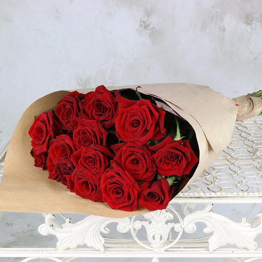 Букет из 15 красных роз 60 см. ПМ