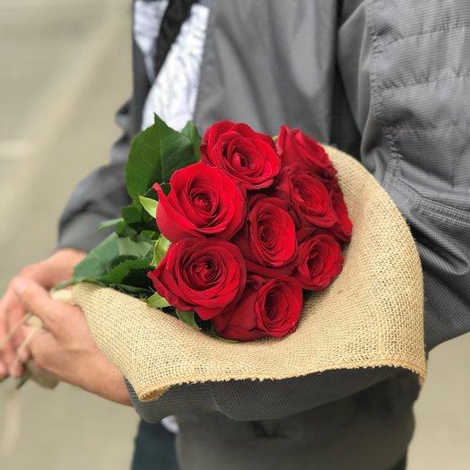 Букет из 9 красных роз (50см). Монобукеты. N153: букеты цветов на заказ Flowwow