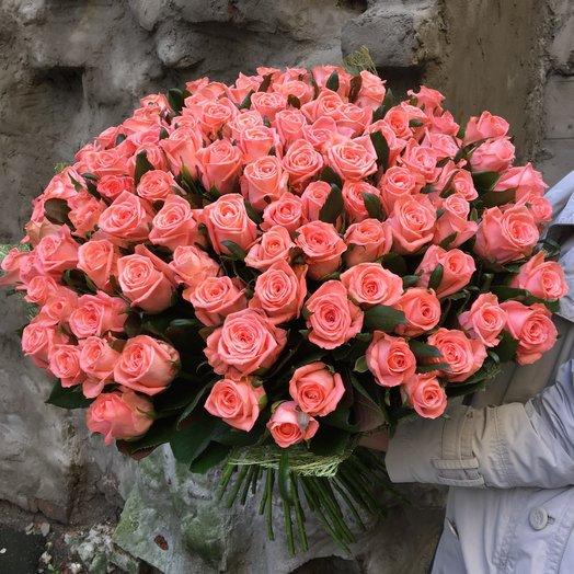 Букет из 101 розовой голландской розы 70 см: букеты цветов на заказ Flowwow