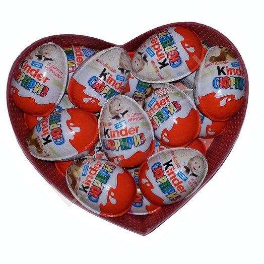 18 киндеров в коробки сердце