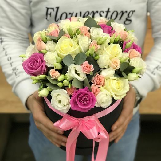 Коробки с цветами. Коробка микс. N392: букеты цветов на заказ Flowwow