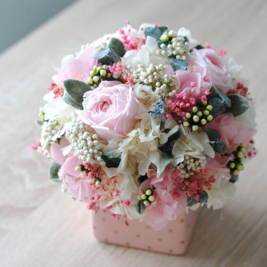Композиция из стабилизированных цветов: букеты цветов на заказ Flowwow