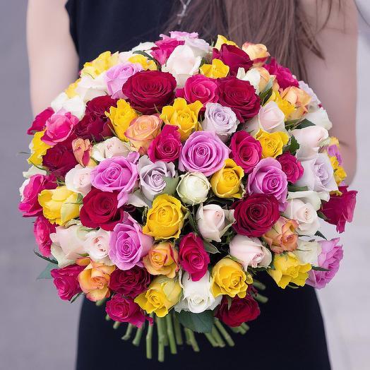"""Букет """"101 Разноцветная Роза"""": букеты цветов на заказ Flowwow"""