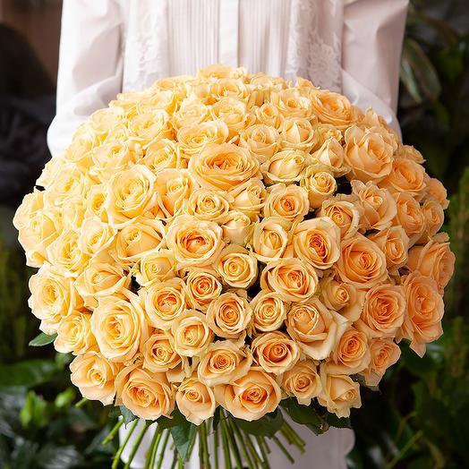 101 кремовая роза 60 см: букеты цветов на заказ Flowwow