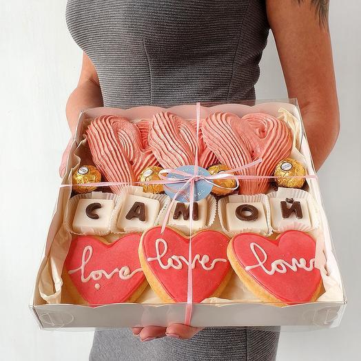 Набор сладостей с шоколадными буквами Самой