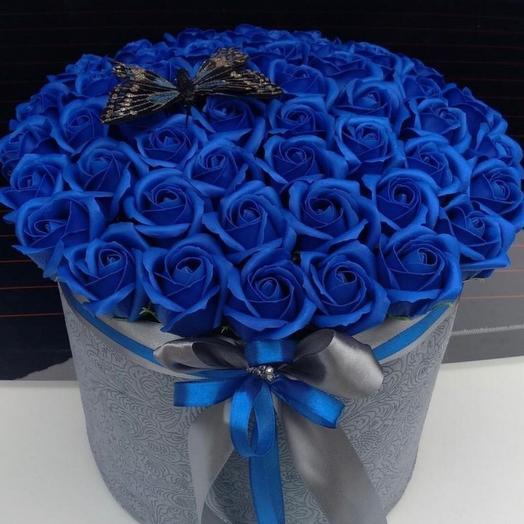 Синие розы из мыла