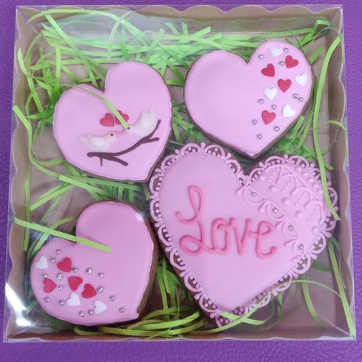 Пряники розовые сердца