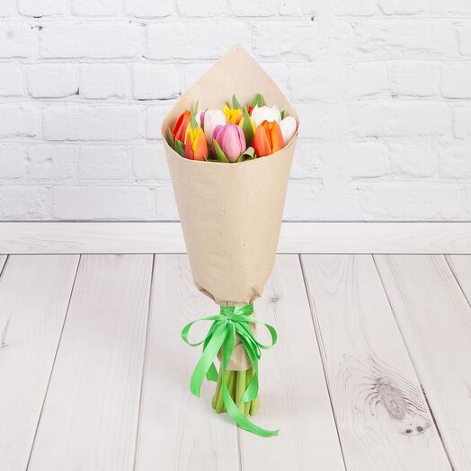 Букет из 15 тюльпанов Микс в крафте