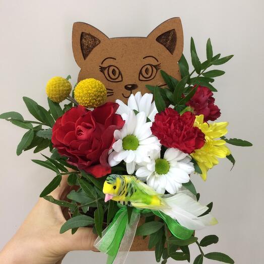 Котёнок с цветами