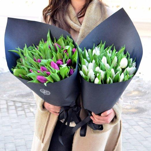 49 тюльпанов в черной дизайнерской бумаге