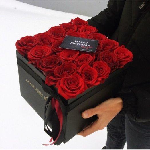Куб с розами Испанская страсть: букеты цветов на заказ Flowwow