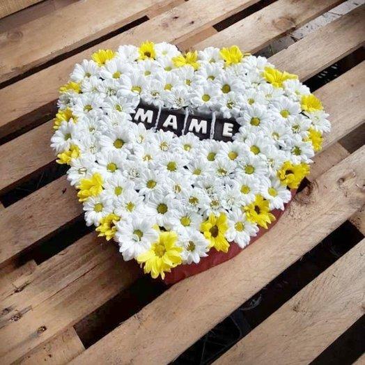 Коробочка-сердце с цветами Маме