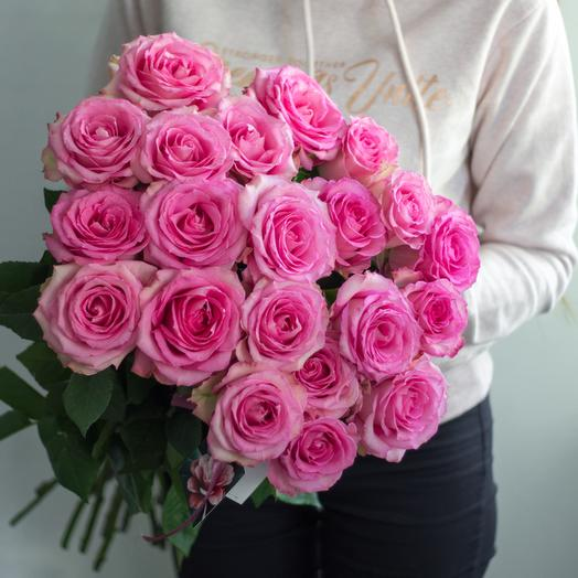 Букет из 21 розовой голландской розы 50 см: букеты цветов на заказ Flowwow