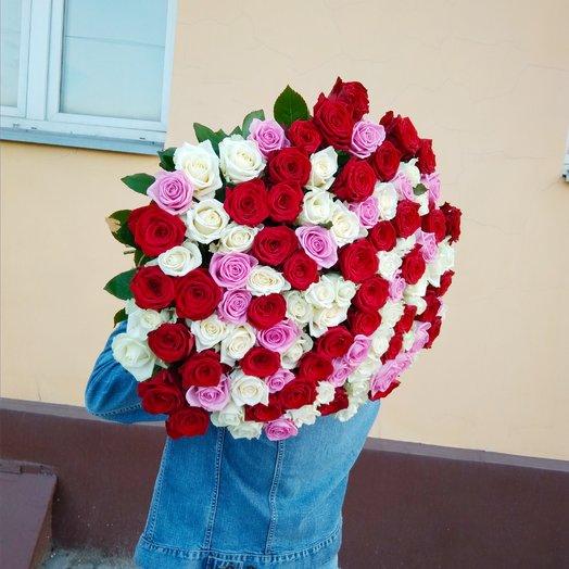 Букет 101 нежный микс: букеты цветов на заказ Flowwow