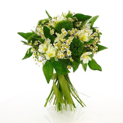 Полевой букет из танацетума и астромерии : букеты цветов на заказ Flowwow