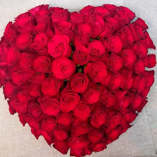 Сердце объемное, 101 роза