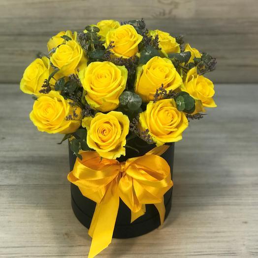 Коробки с цветами. Желтая роза. 15 шт. N264: букеты цветов на заказ Flowwow