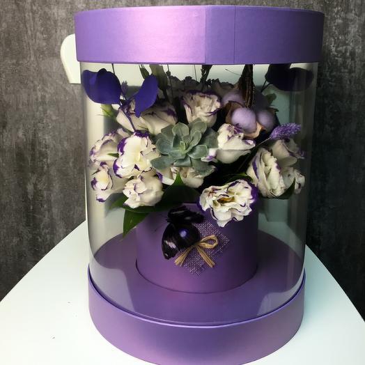 Живые бабочки в лавандовой коробке: букеты цветов на заказ Flowwow