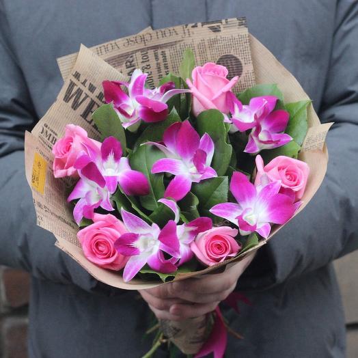 Розовые орхидеи и розы: букеты цветов на заказ Flowwow
