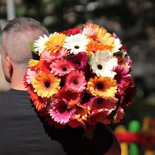51 гербера микс: букеты цветов на заказ Flowwow