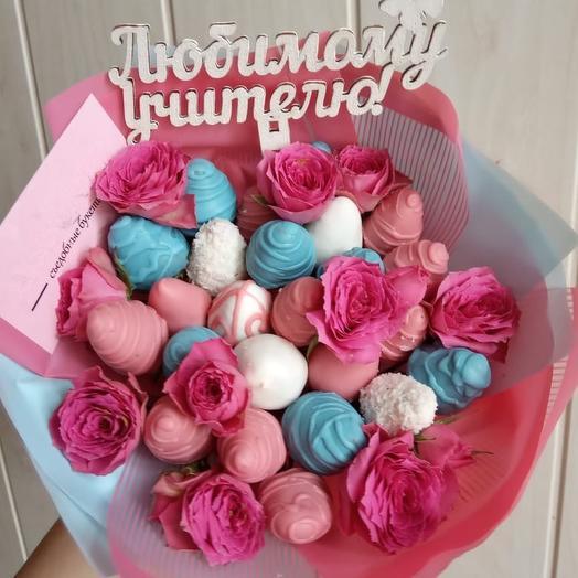 Клубничный букет «розовый миф»: букеты цветов на заказ Flowwow