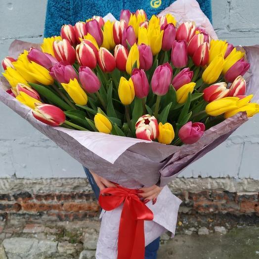 Яркий 🌈 букет из 101 тюльпана микс